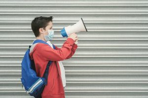 Middle school student with megaphone
